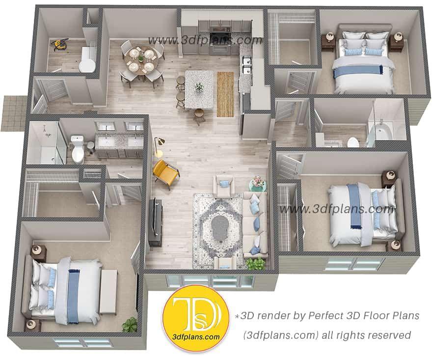Pin On Multifamily 3d Floor Plans