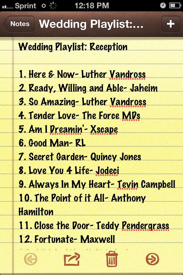 Wedding Playlist Reception Wedding songs reception