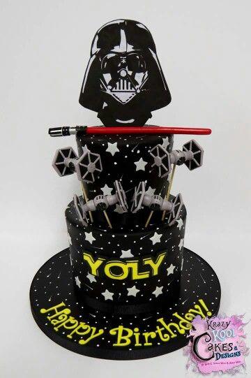 Birthday Cake Star Wars Fondant Darth Vader R2d2 Yoda