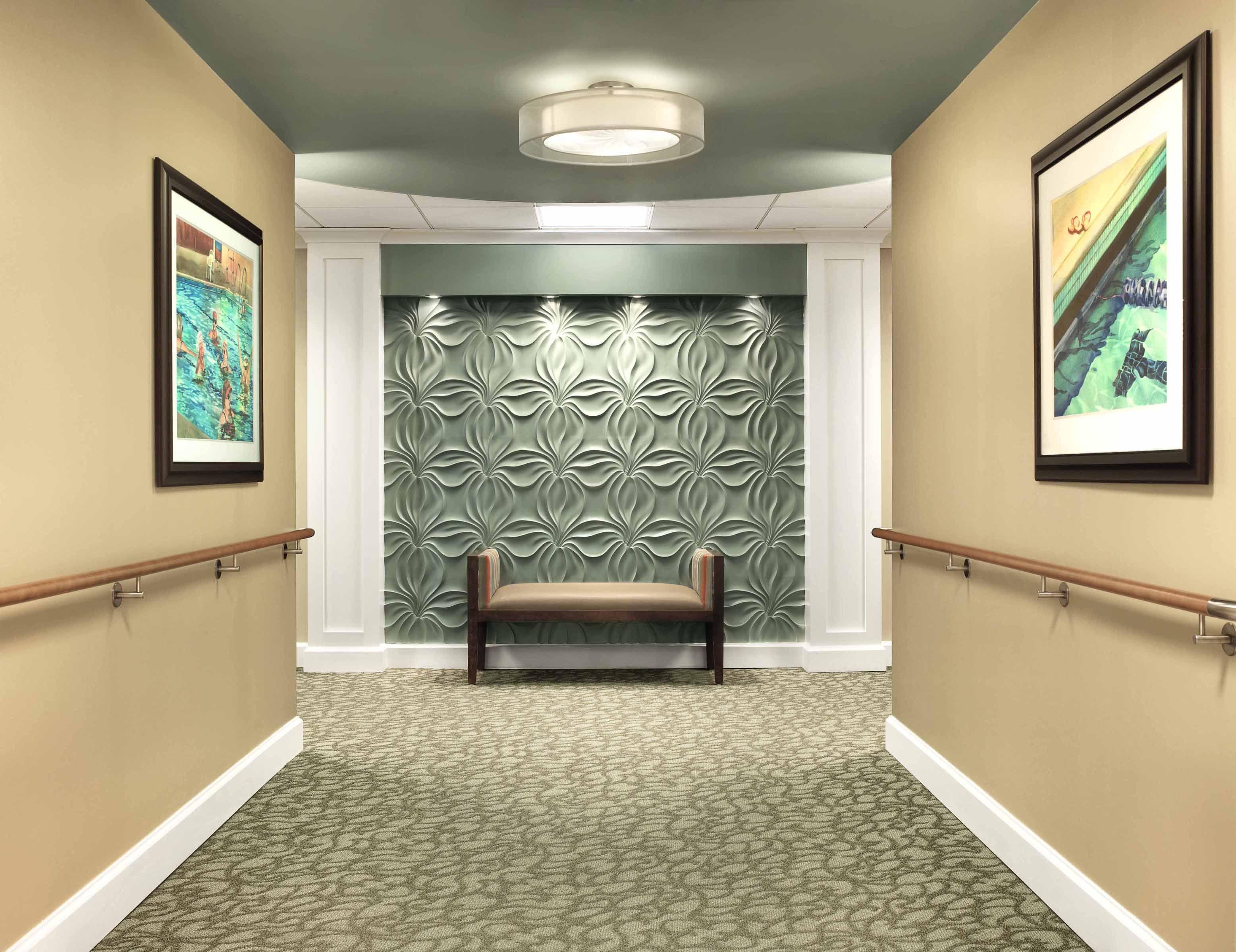 Cypress Glen Corridor Interesting End Of Corridor Lighting Texture Wall Senior Living