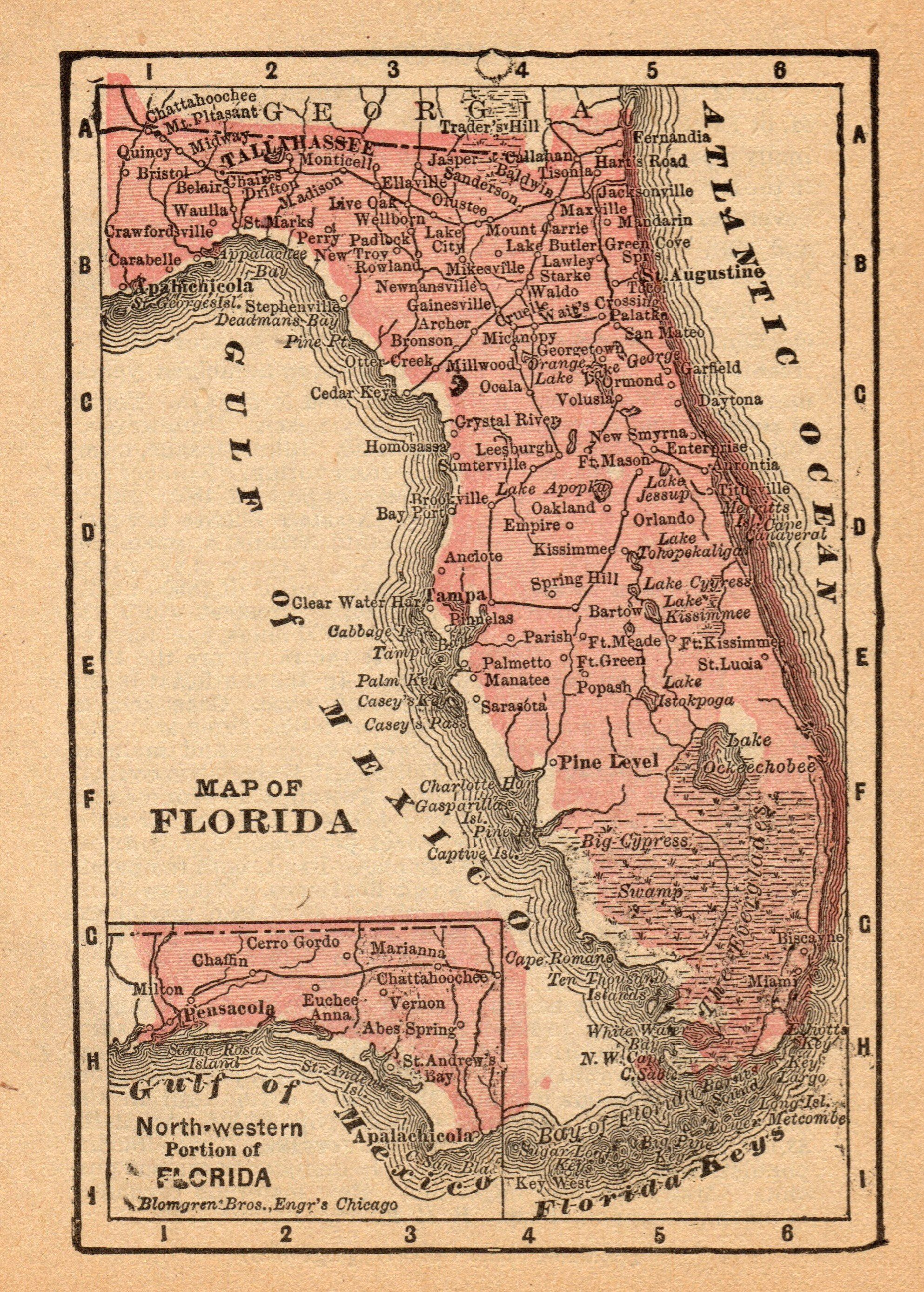 Antique Map Of Florida.1888 Antique Florida State Map Vintage Map Of Florida Gallery Wall