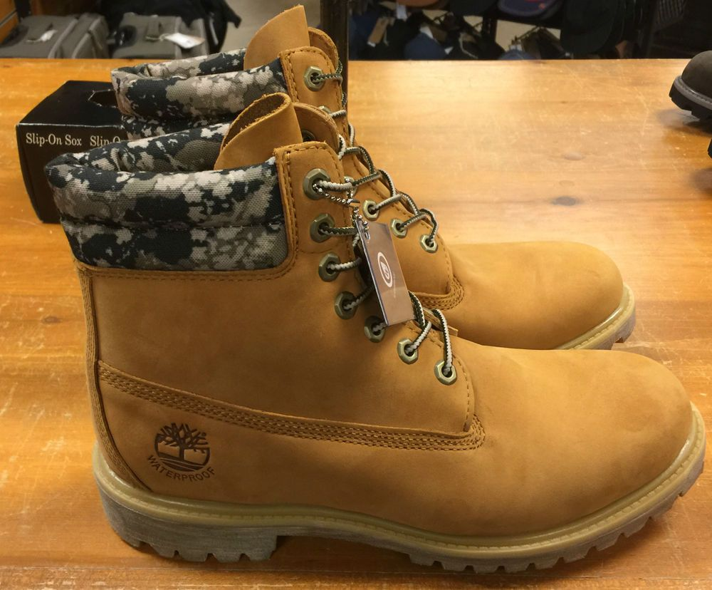 05cbdd02841f1 TB0A1145 TIMBERLAND MENS WHEAT CAMO DOUBLE SOLE WATERPROOF BOOTS Size 7-15 # Timberland #WorkSafety