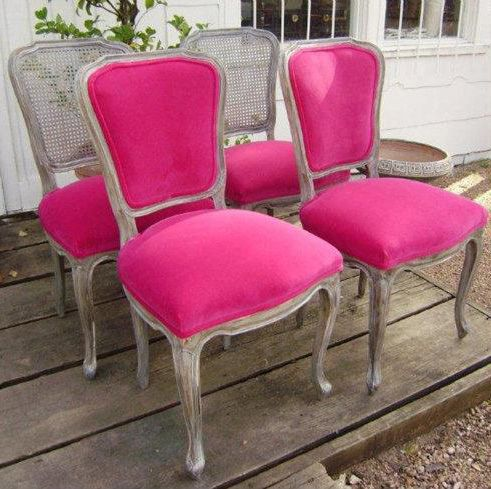 hot pink chair spandex cover 7 unbelievable furniture makeovers pinterest the new eye catching look features a faux finish and velvet upholstery
