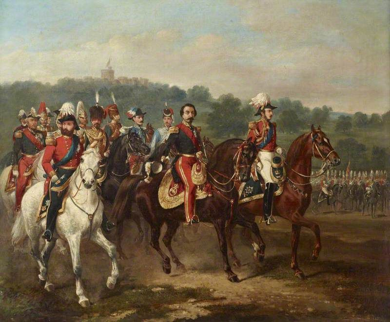 Prince Albert (1819–1861), the Prince Consort, with the Emperor Napoleon III (1808–1873), and the First Life Guards at Windsor, 17 April 1855