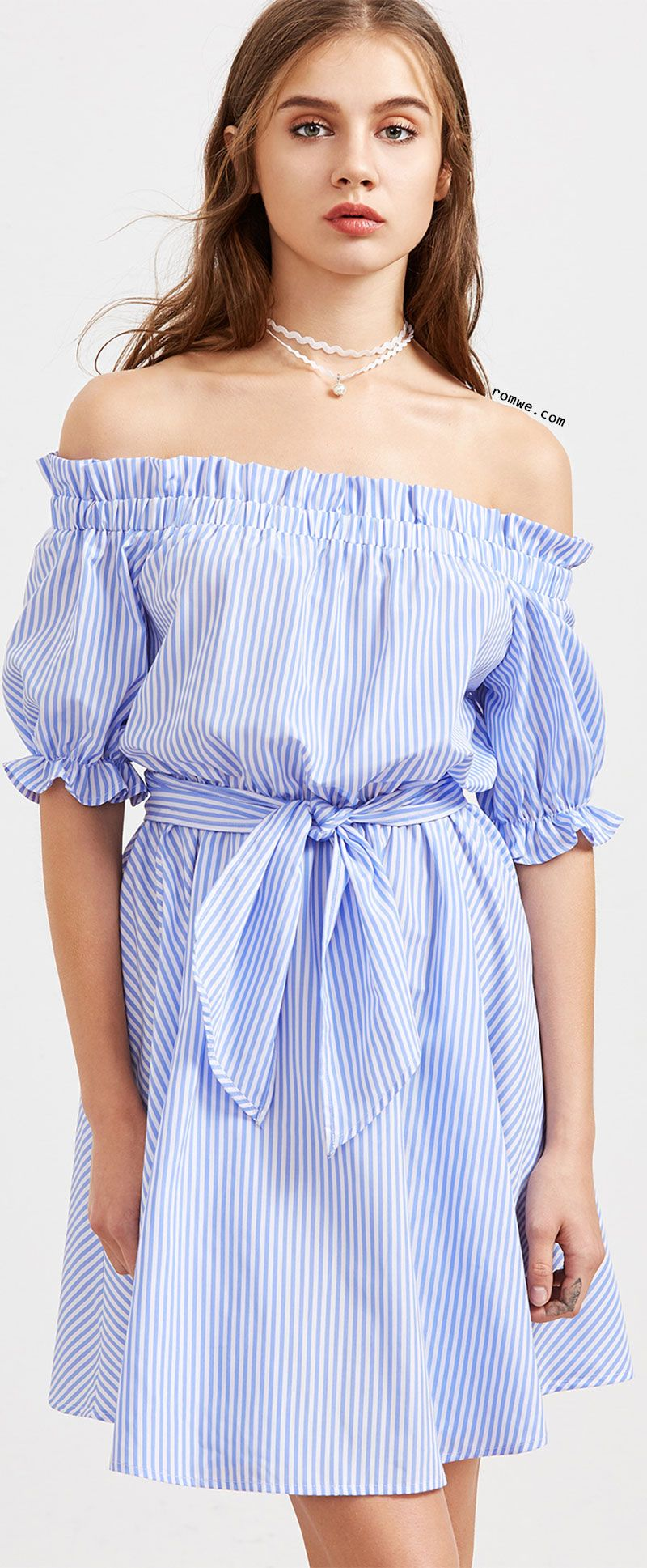 5213c82f0302 Blue Striped Ruffle Detail Belted Off The Shoulder Dress