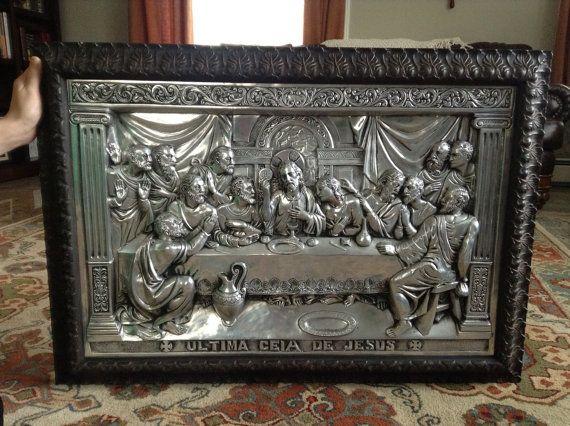 La Ultima Ciea De The Last Supper 1940s Tin Portuguese Art Wall Sculpture On Etsy 1 200 00