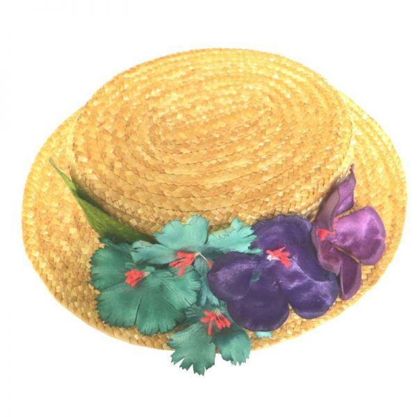 Canotier Flores Aguamarina y Moradas  9376598f582