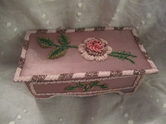 Handmade Beaded Silk Box Mauves Pinks seed beaded by LarrysLoot
