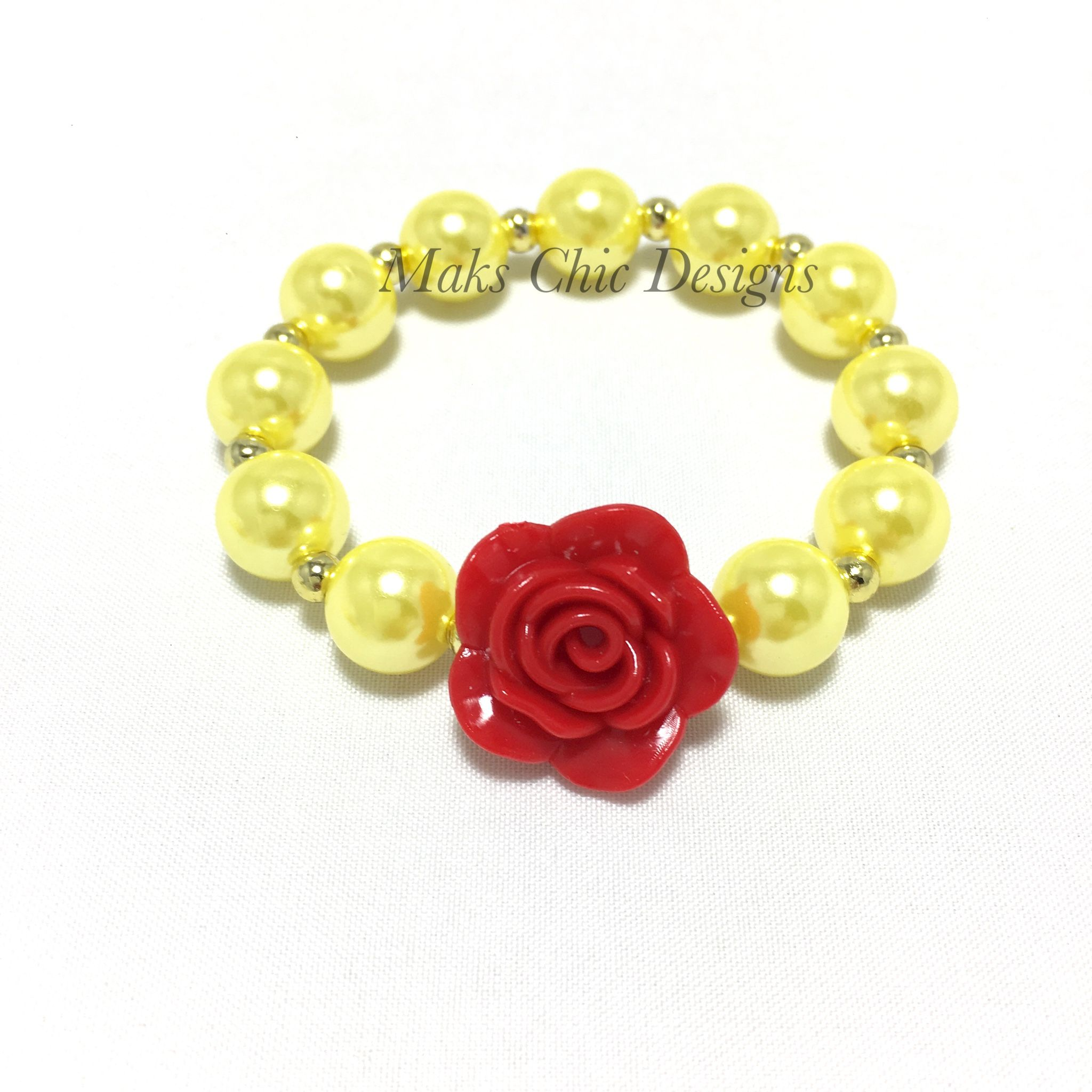 Red flower small beaded bracelet beauty princess bracelet