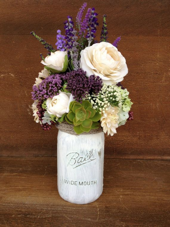 Mason jar arrangement purple and ivory silk floral by