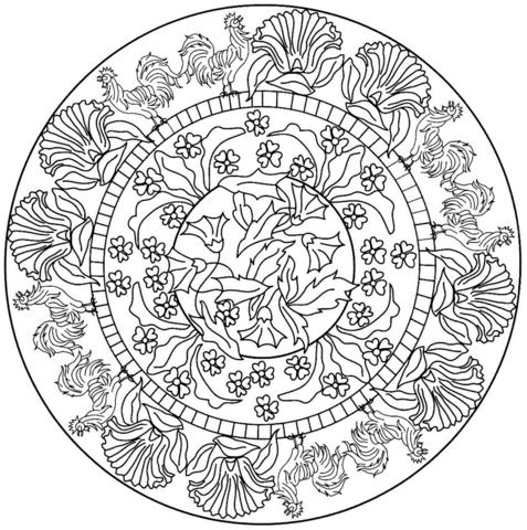 Ausmalbild: Mandala mit Hahn-Muster. Kategorien: Tier Mandalas ...