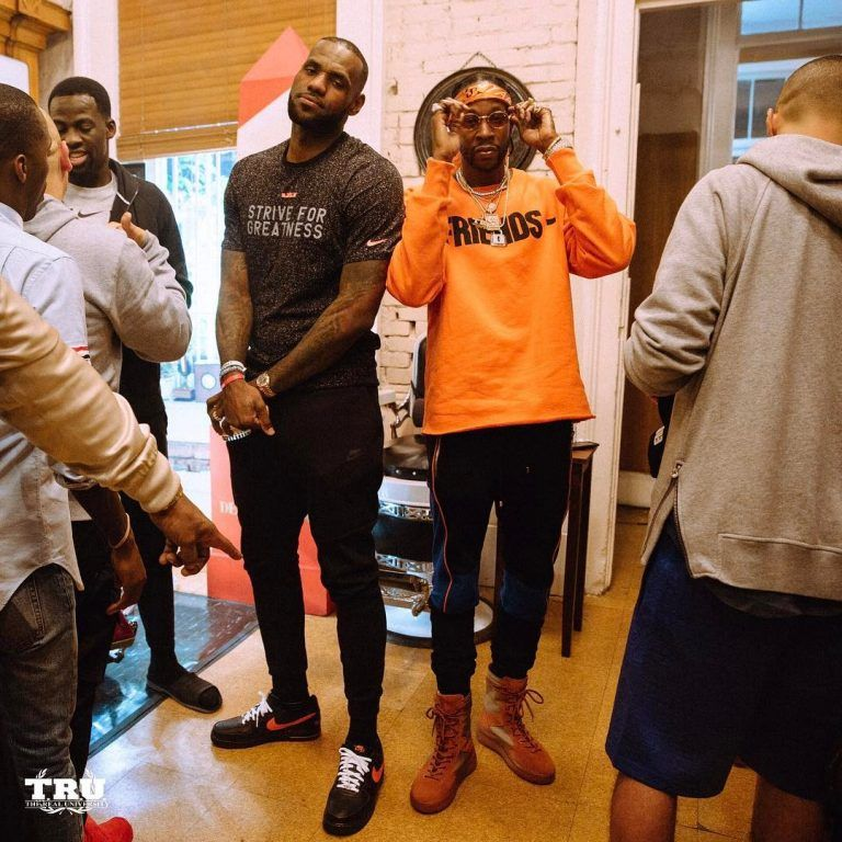 ad537c6ccfcfd5 LeBron James Seen Wearing Nike T-Shirt And Nike x VLONE Sneakers With 2  Chainz In Balmain Sweatpants And Yeezy Season Boots