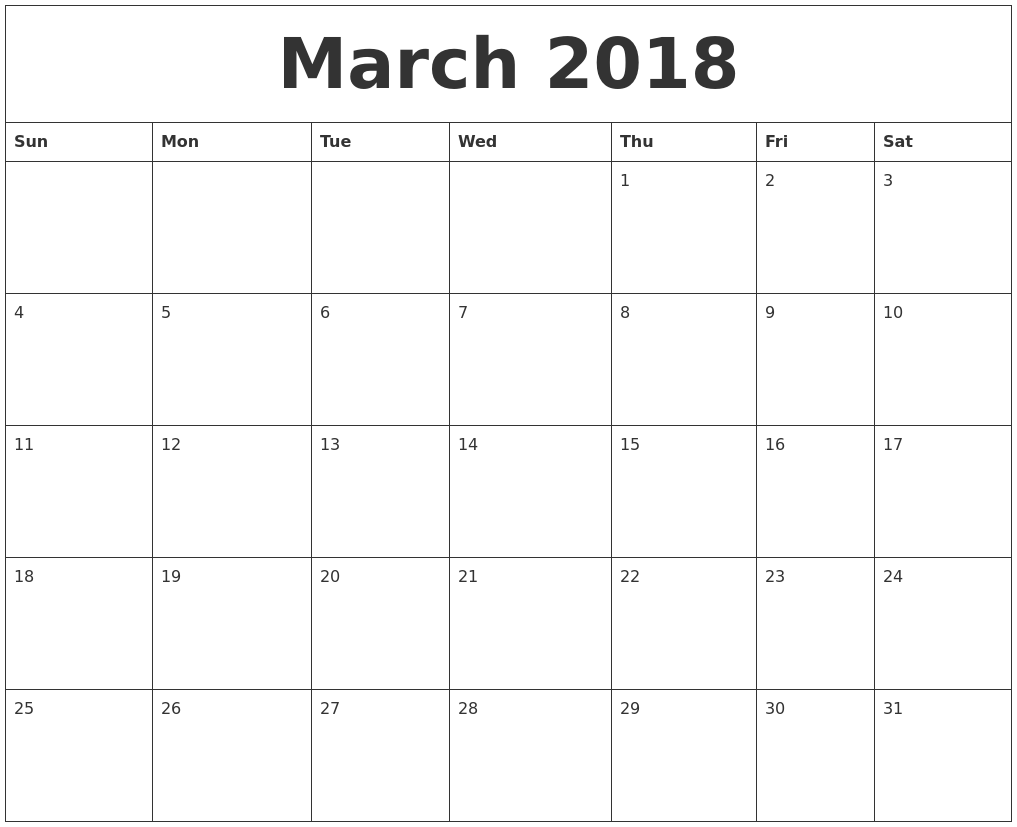 march 2018 calendar printable with holidays