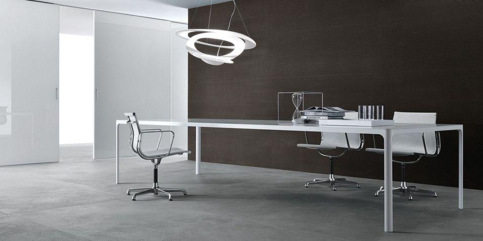 Tavolo Bianco Design.Rimedio Tavolo Flat Struttura Alluminio Laccato Bianco E
