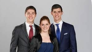 Thibaut Courtois from Belgium and Chelsea with his bother and sister