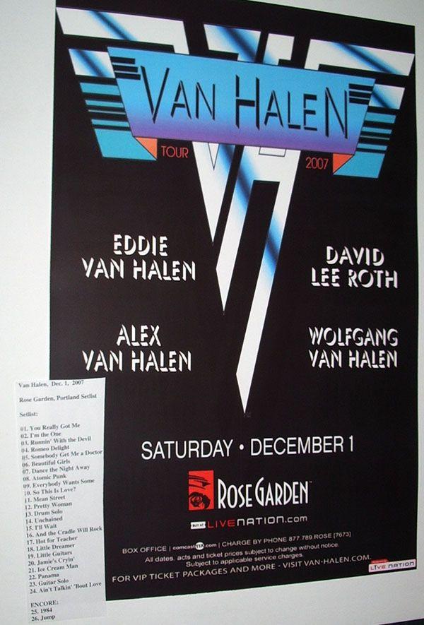 Van Halen poster concert $9.84 David Lee roth