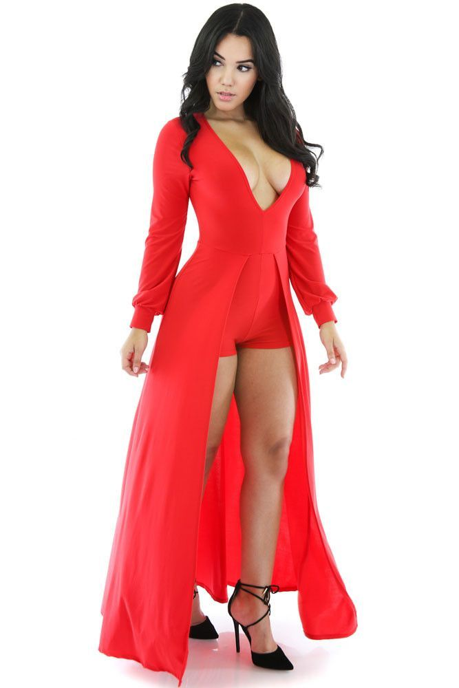 5ac083a03ab7 ... New Fashion Women Red Long Sleeve Deep V Neck Jumpsuits Rompers Flared  Short Pants Bodycon Elegant Maxi Bodysuit. Red Long Tail Jumpsuit