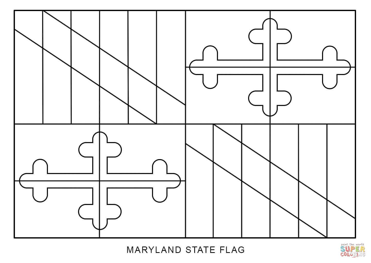 Flag Of Maryland Coloring Page From Maryland Category Select From