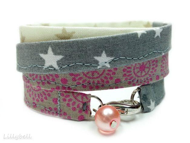 Armbänder - Wickelarmband Stoffarmband Armband - ein Designerstück von LILLYBELL-Handarbeit-und-Design bei DaWanda