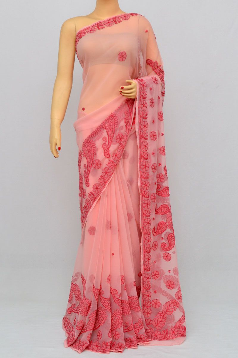 f2dca4fb1e05c2 Rose Color Designer Hand Embroidered Lucknowi Chikankari Saree (With Blouse  - Georgette) HS250271