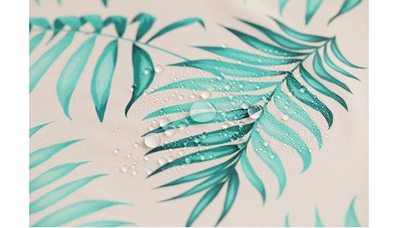 Raincoat Material Grey Coated Waterproof Cotton Fabric Leaves