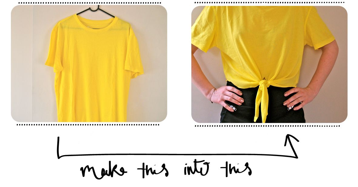 cf689ff2c3 How to refashion old T-shirts by turning it into a front-knot crop top.