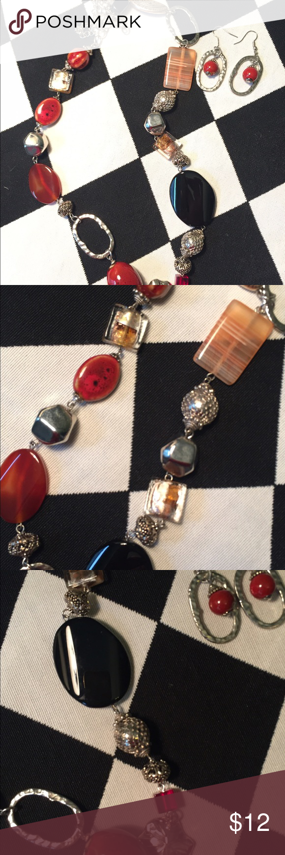 """Timeless Necklace and Earrings This is a stunning necklace on. Oversized black stones with reddish brown accent stones. You'll find many things to wear this with. Necklace is 13"""". Earring have matching stone. Premier Designs Jewelry"""