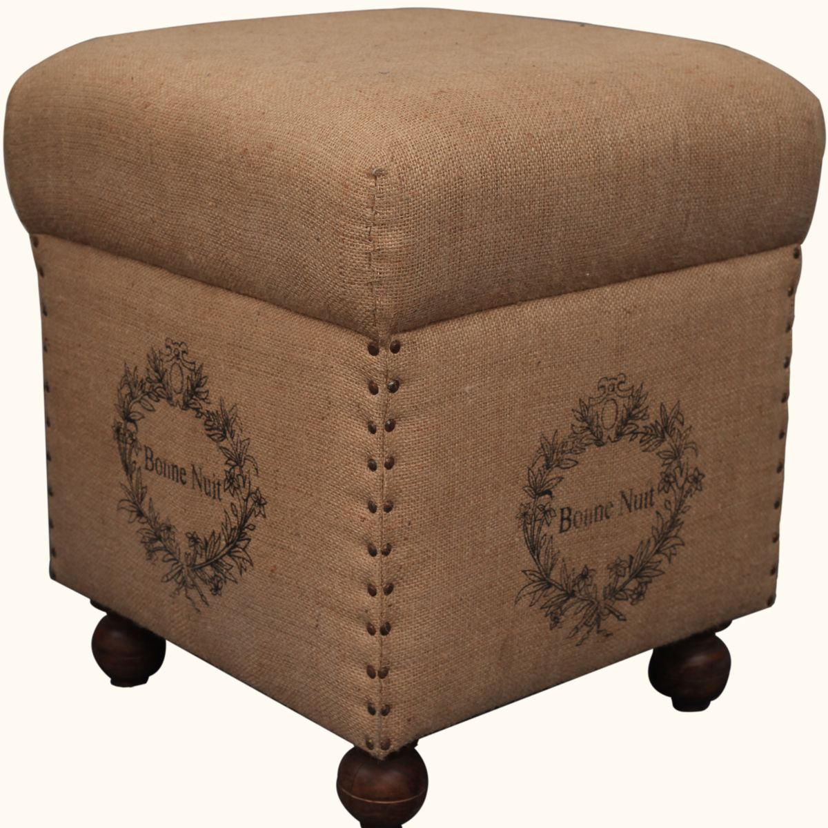 Burlap Upholstered Solid Wood Footrest Hassock Stool Solid Wood Foot Rest Wood