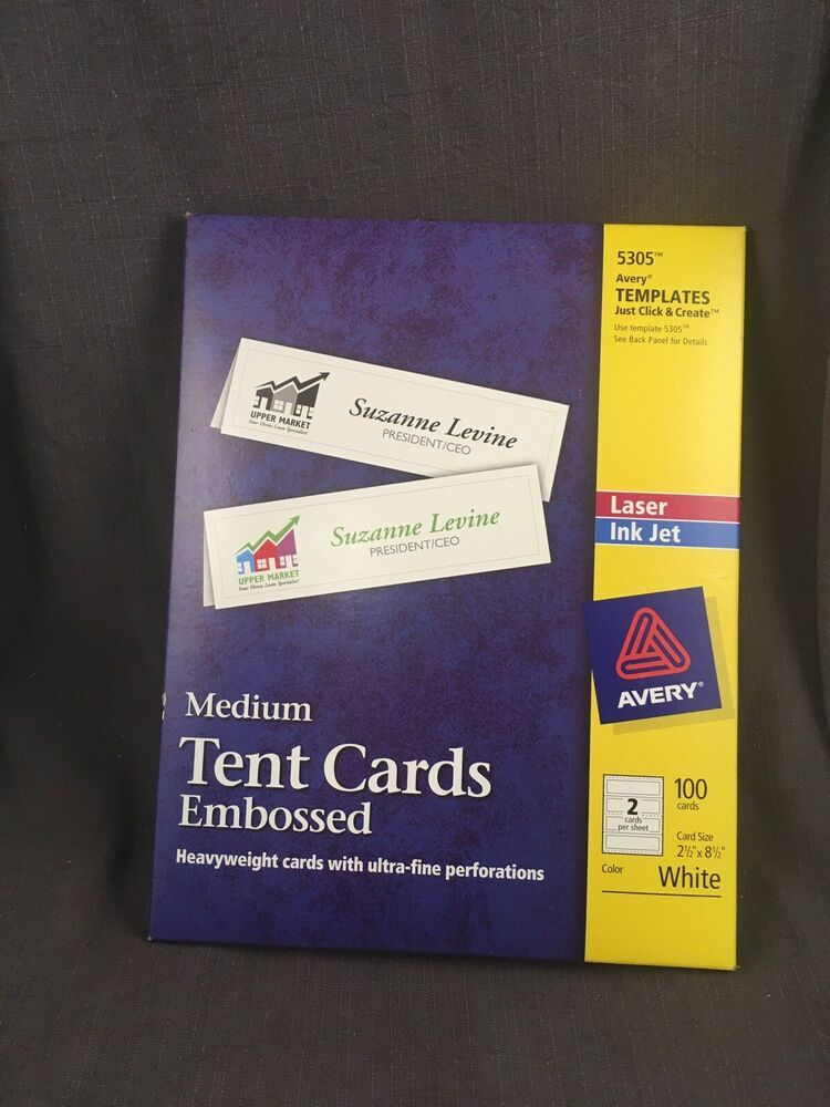 Avery 5305 Medium Tent Cards Embossed White Open Package 1 4 Sheets Missing Avery Tent Cards Cards Card Sizes