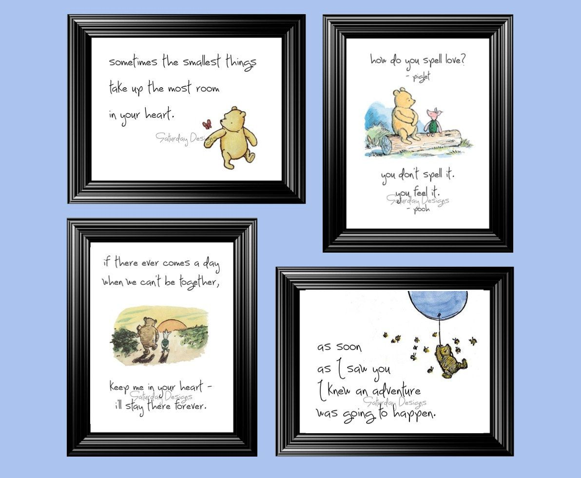 Classic winnie the pooh quotes set of 4 digital 5x7 prints lovely winnie the pooh quotes and sayings for nursery girls bedroom wall stickers murals lovely winnie the pooh quotes cute art for nursery amipublicfo Images