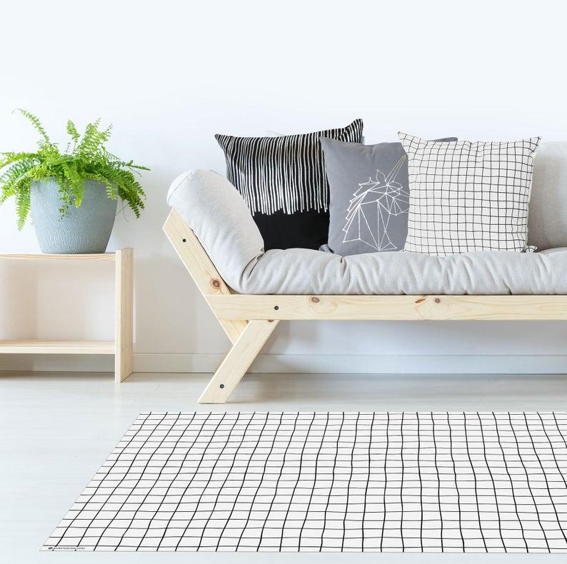 Minimalist Grid floor mat, Scandinavian rug, Modern rug