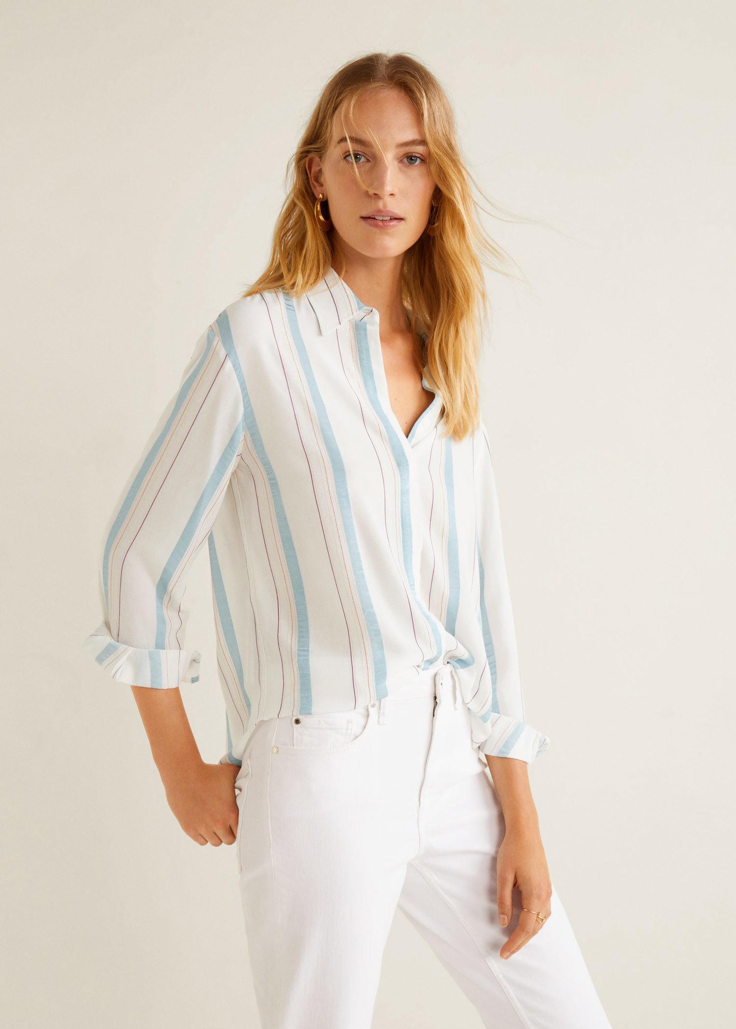 a1588ad512 Metallic striped shirt by Mango