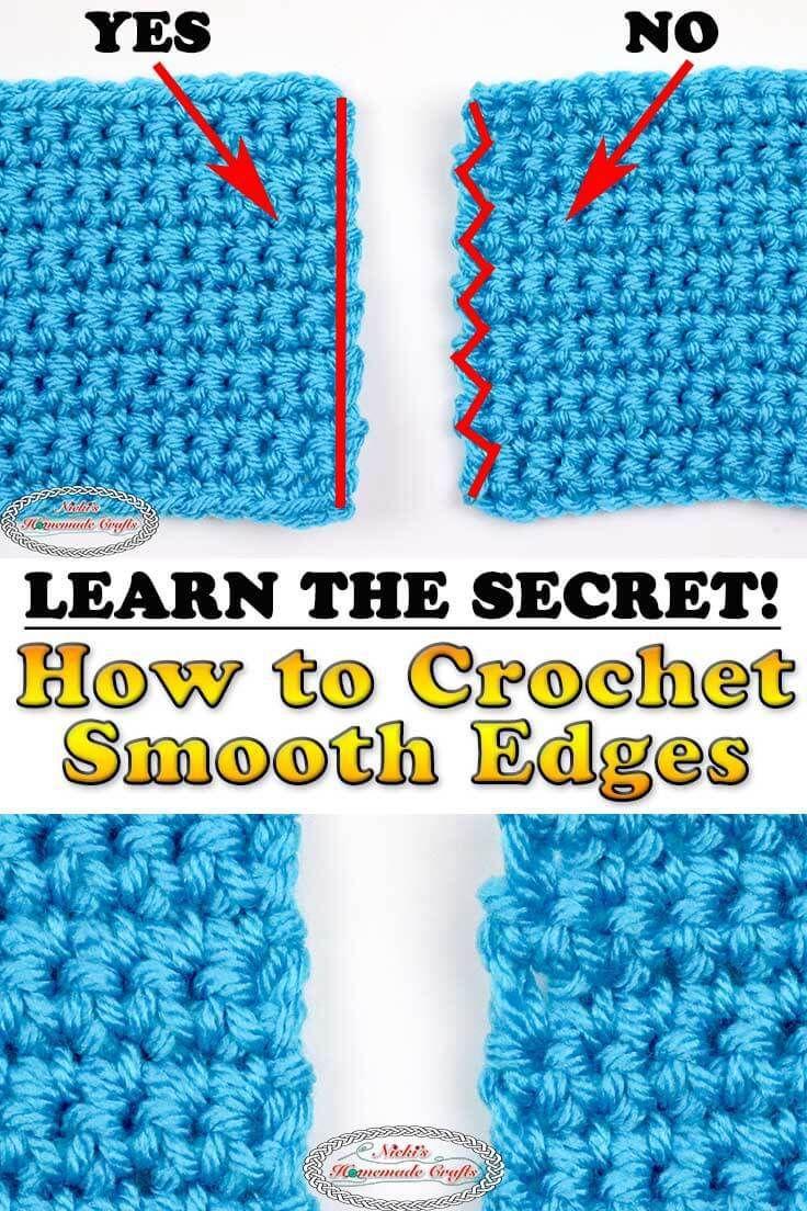learn the secret to straigth smooth edges in crochet rows haken half double crochet crochet diagram and double crochet on pinterest [ 736 x 1104 Pixel ]