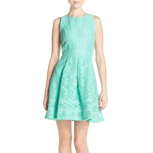 Women's Adelyn Rae Cutout Lace Fit & Flare Dress (€61) ❤ liked on Polyvore featuring dresses, mint, blue dress, lace fit-and-flare dresses, mint green lace dress, blue lace cocktail dress and fit and flare cocktail dress