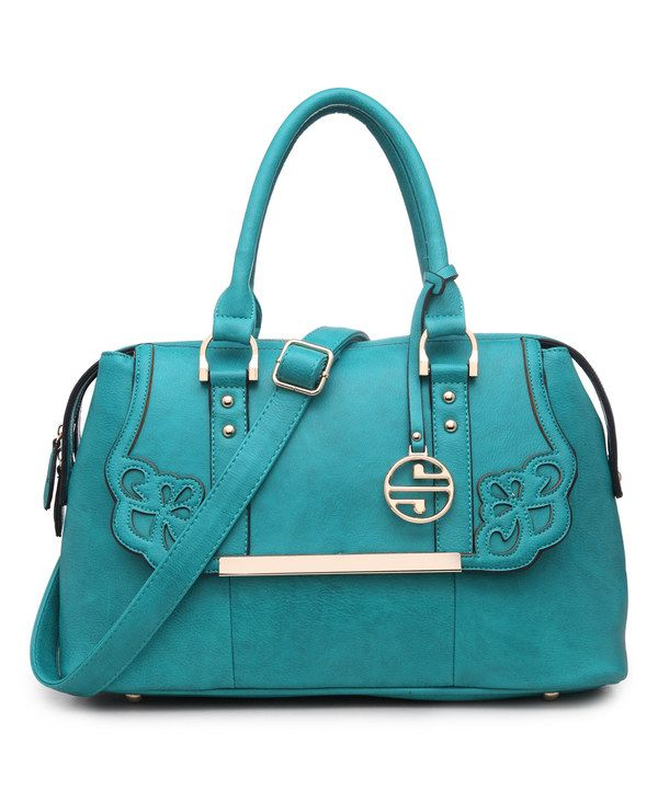 Look at this Segolene Paris Turquoise Faux-Flap Satchel on #zulily today!