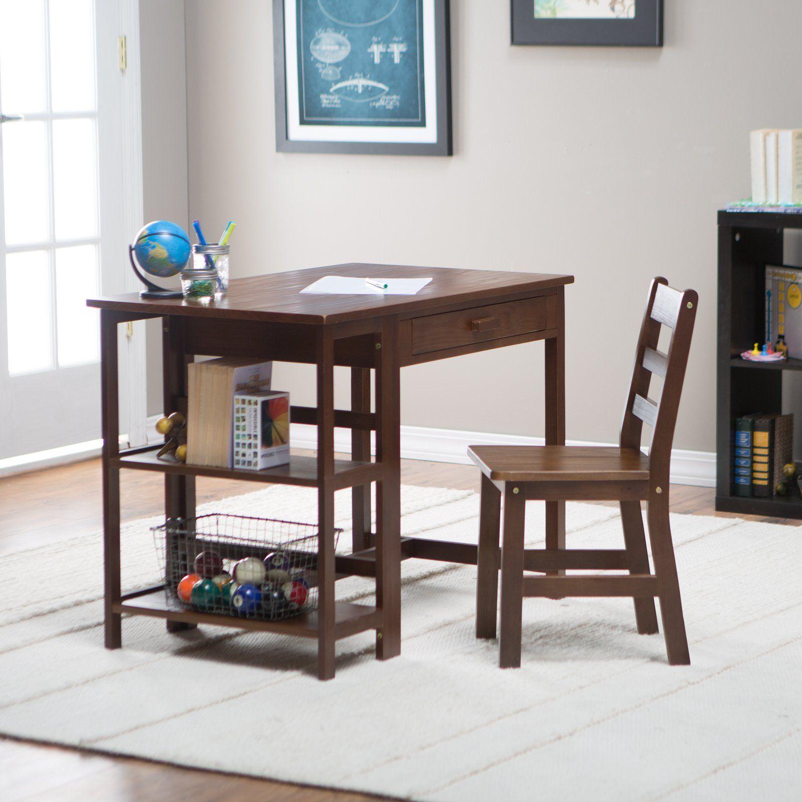 Lipper Writing Workstation Desk Amp Chair Walnut