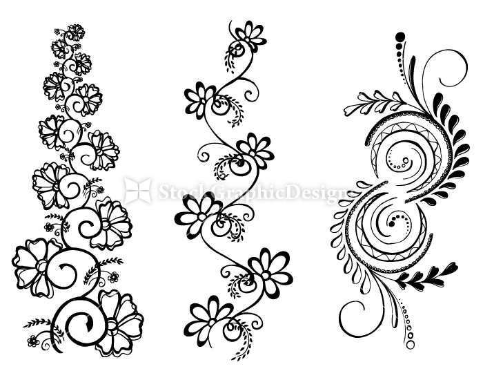 Hand Drawn Floral Ornaments Vector Illustration And Photoshop