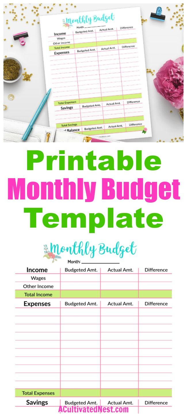Printable Monthly Budget Template Living Frugally Money Saving