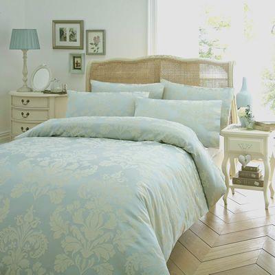 Textured Damask Duck Egg Justlinen Luxury Bedding Blue And Cream Bedroom Bed Linen Sets