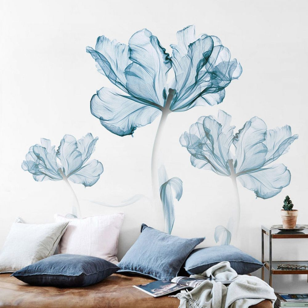 Large Blue Flower Wall Sticker Background Self Adhesive Wall