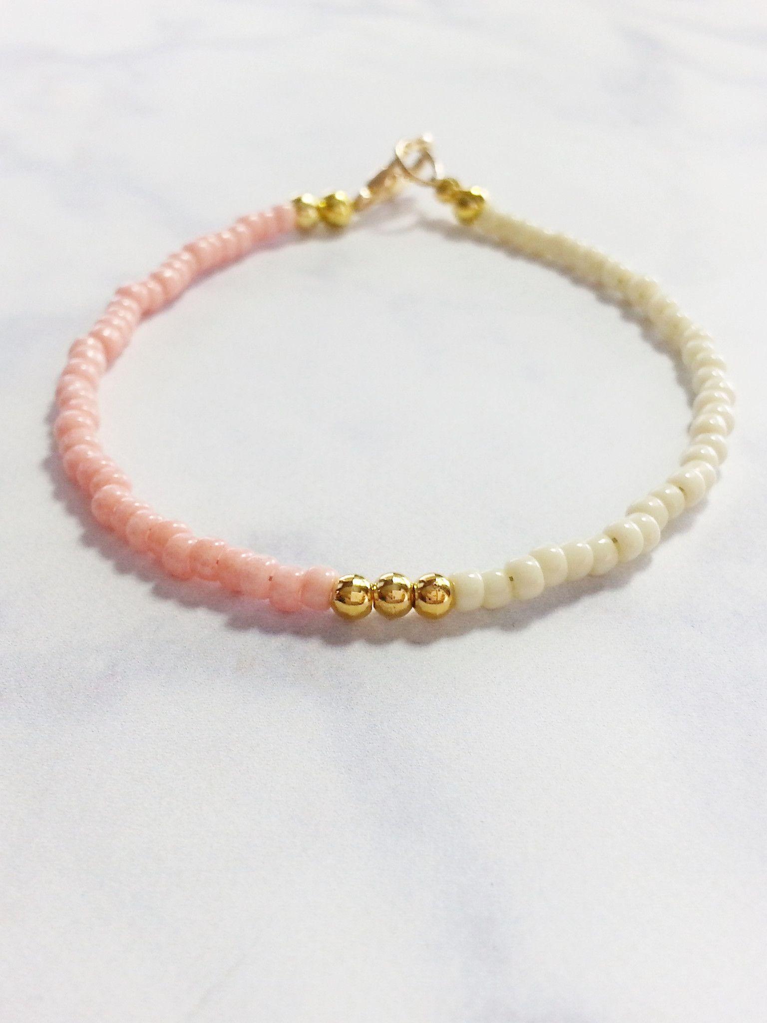 Pink Beige Gold Friendship Bracelet Beaded