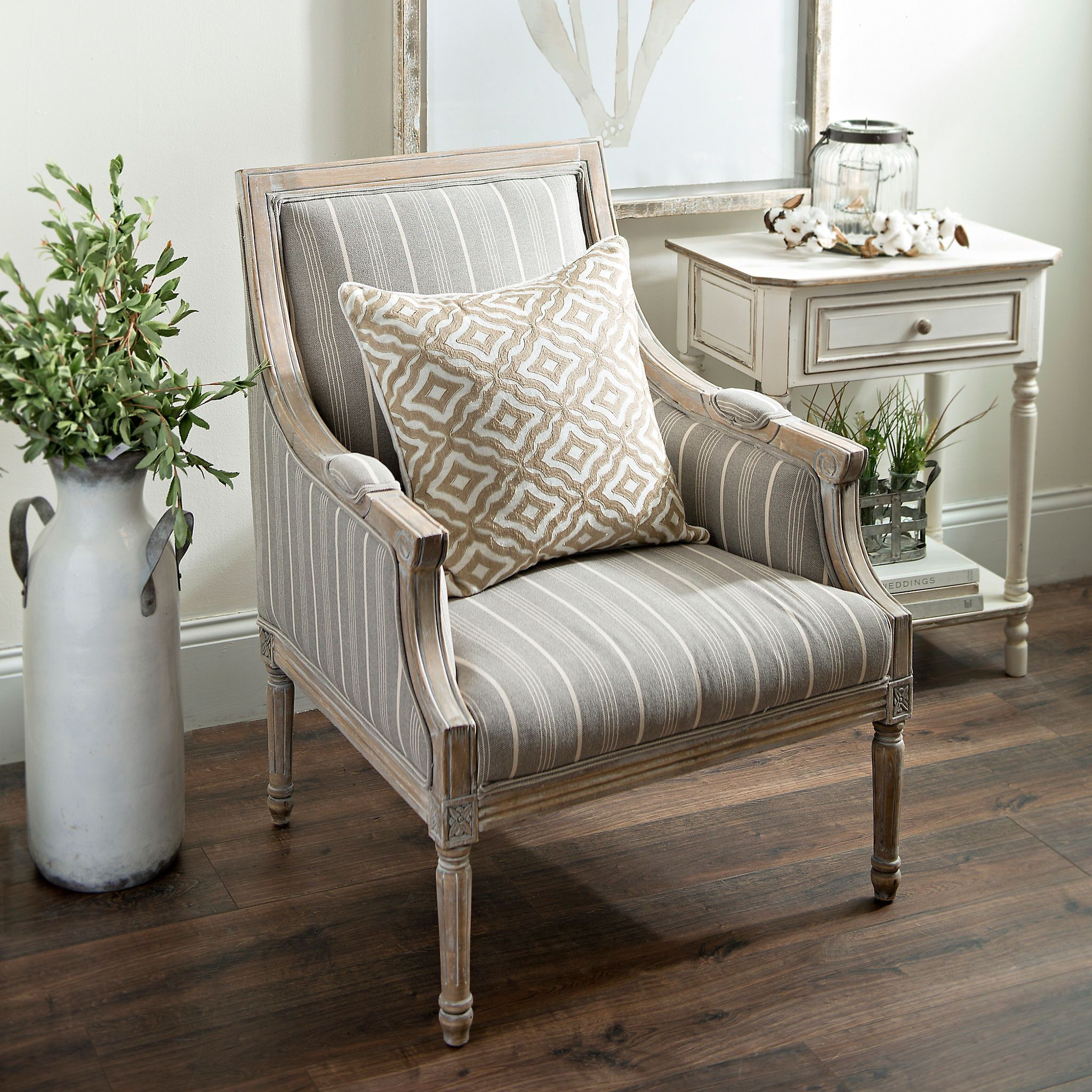 Best Mckenna Taupe Stripe Accent Chair Accent Chairs For 400 x 300