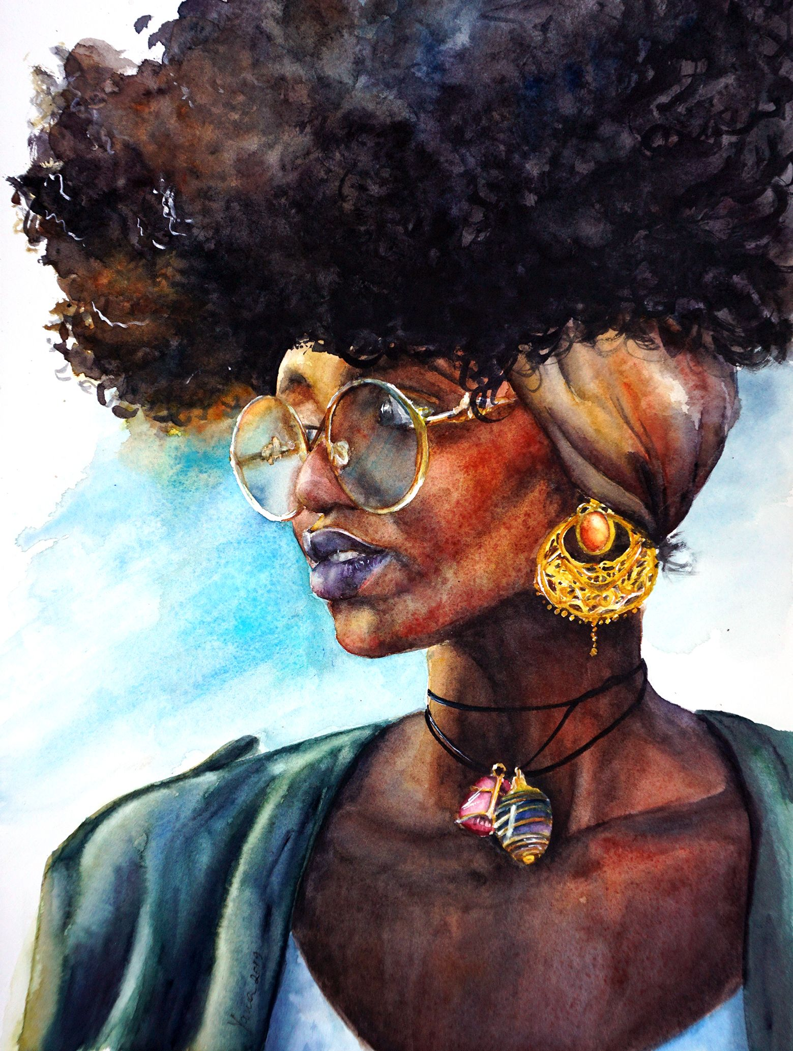 African American Beauty in 2020 Watercolor portraits