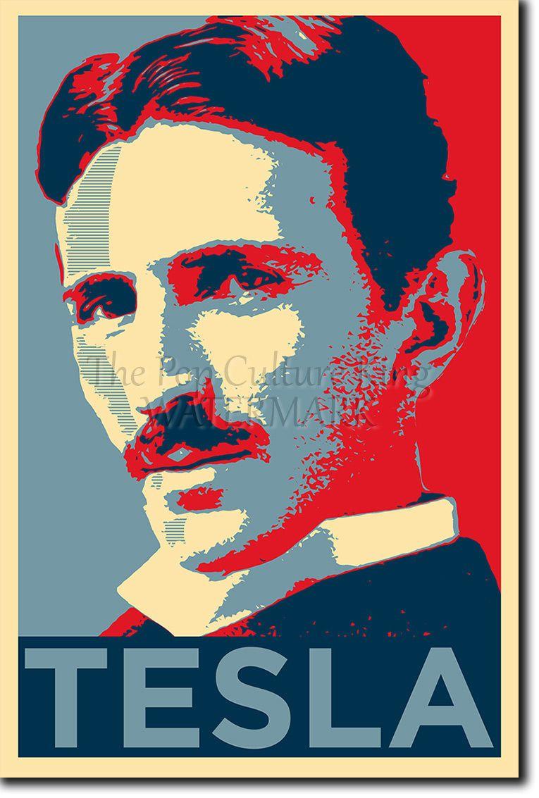 nikola tesla poster unique photo art