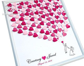 Wedding Guest Book Ideas up to 100 guests - Shadows of Pink Wedding Tree - 3D Wedding Guest Book Alternative to traditional guestbook