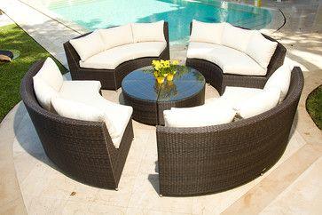 Veranda 5 Piece Resin Wicker Curved Outdoor Sectional W