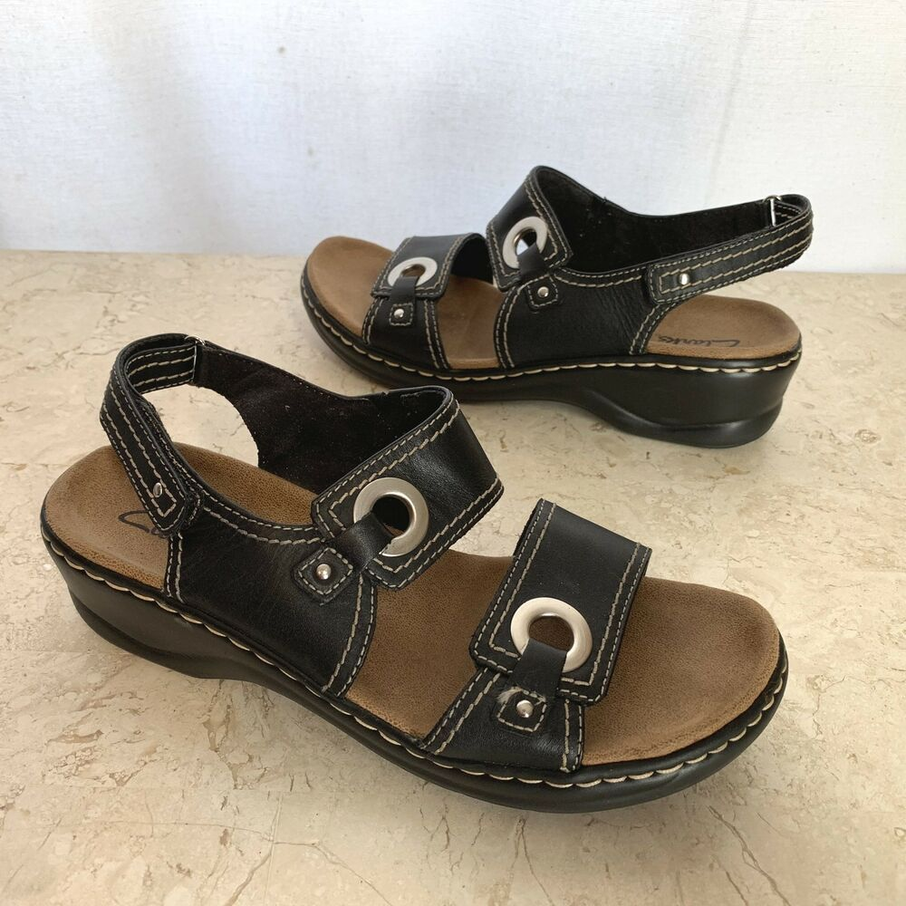 3a0f4faa2c9d Clarks Lexi Birch Sandals Womens 8.5 M Black Leather Comfort Shoes Silver  Trim  Clarks  FootbedSandals  Casual