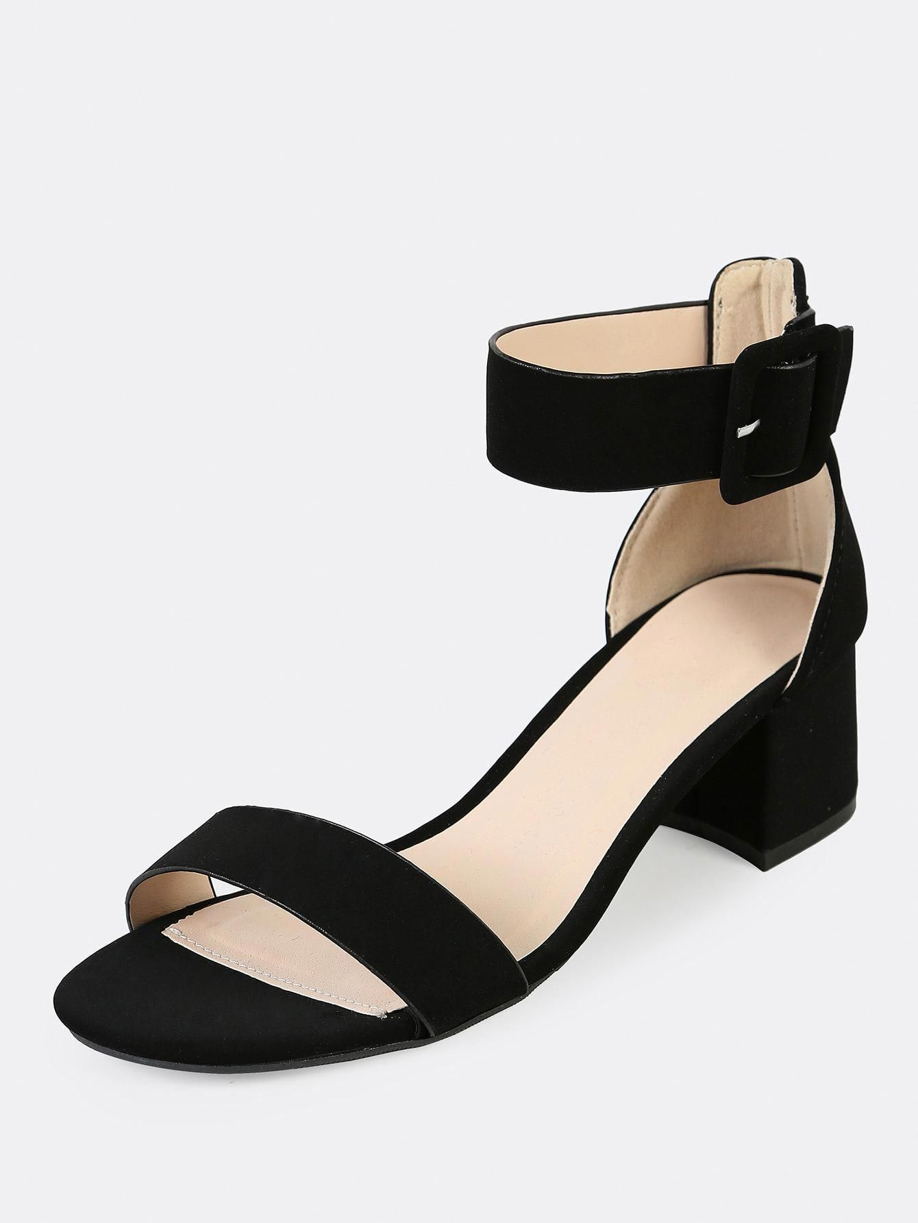 33f6290ce9e Elegant Peep Toe Ankle strap Black Mid Heel Chunky Thick Ankle Strap One  Band Chunky Low Heels BLACK  StilettoHeels