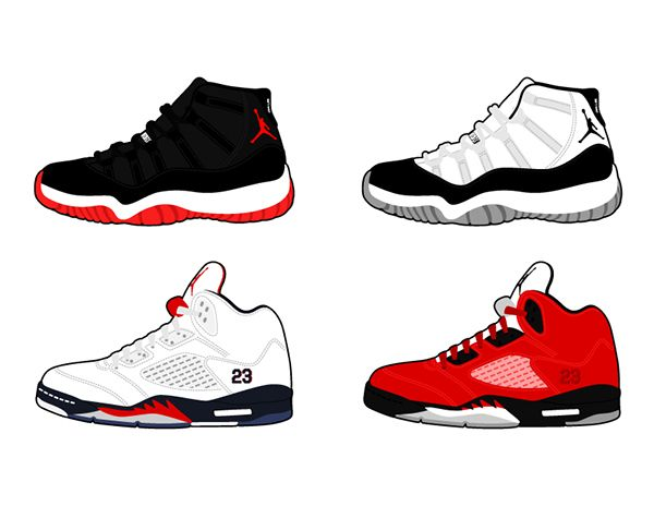 Jordans illastrastion | ... Air Jordan Shoes Retro done in adobe  illustrator using wacom