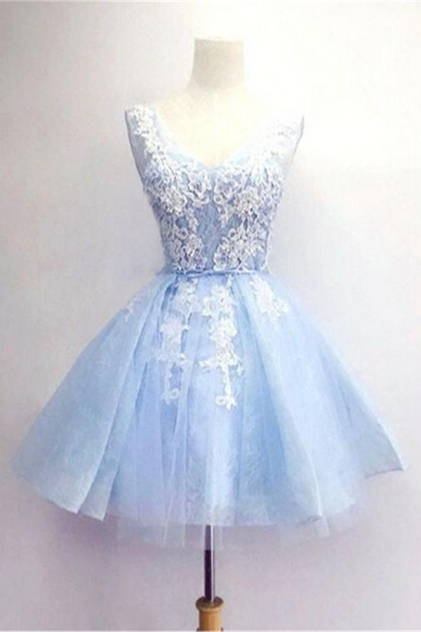 4fe4604503b2 Scoop Neck Tulle Homecoming Dresses Lace Appliques Dresses. Light Blue  Short Prom ...
